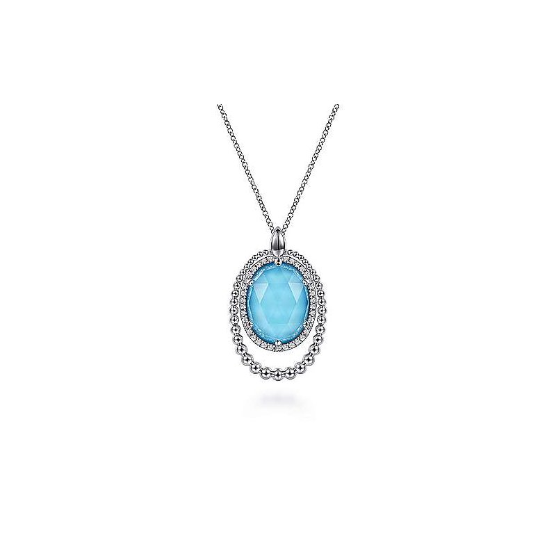 Gabriel & Co SS 17.5IN WHITE SAPPHIRE, ROCK CRYSTAL & TURQUOISE PENDANT NECKLACE