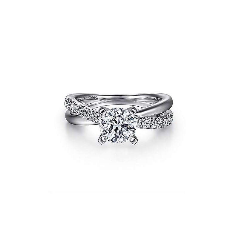 Gabriel & Co 14K White Gold Round Twisted Diamond Engagement Ring