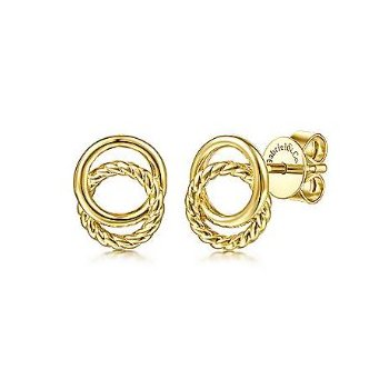 14KY TWISTED ROPE & PLAIN CIRCLES STUD EARRINGS
