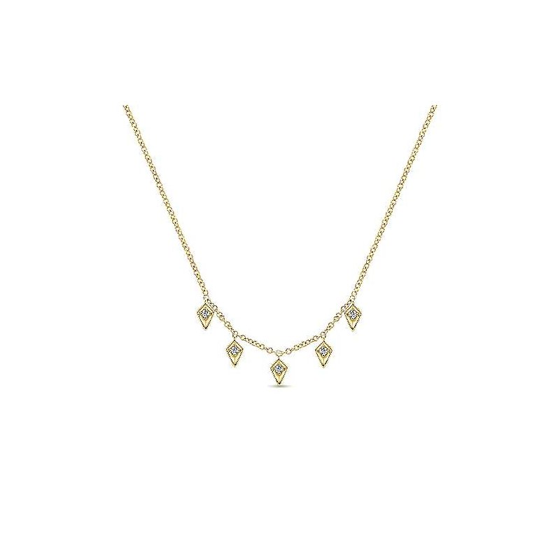 Gabriel & Co 14KY 17.5IN 0.06TDW KITE SHAPED DROPS STATION NECKLACE