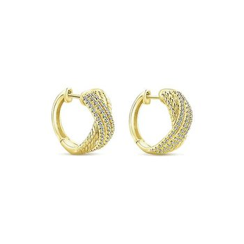 14KY 0.36TDW IJ/SI2 HUGGIE HOOP EARRINGS