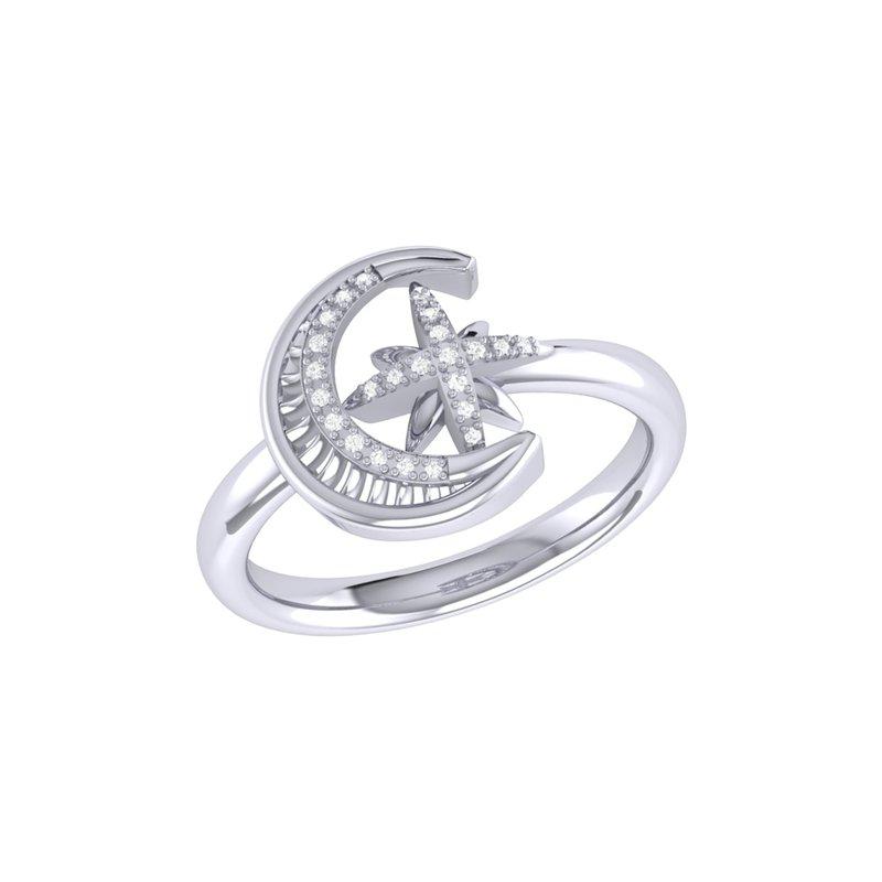 LUV MY JEWELRY SS SZ 7 0.06TDW MOON-CRADLED STAR RING