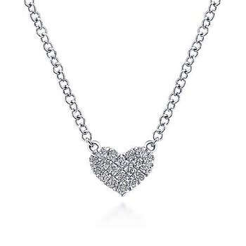 14KW 17.5IN 0.07TDW PAVE HEART PENDANT NECKLACE