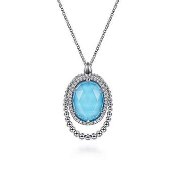 SS 17.5IN WHITE SAPPHIRE, ROCK CRYSTAL & TURQUOISE PENDANT NECKLACE