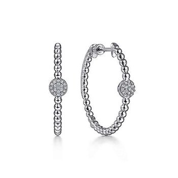 SS 30MM PAVE WHITE SAPPHIRE CLASSIC HOOP EARRINGS