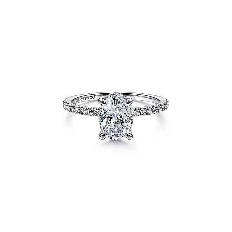 Gabriel & Co 14K White Gold Hidden Halo Oval Diamond Engagement Ring