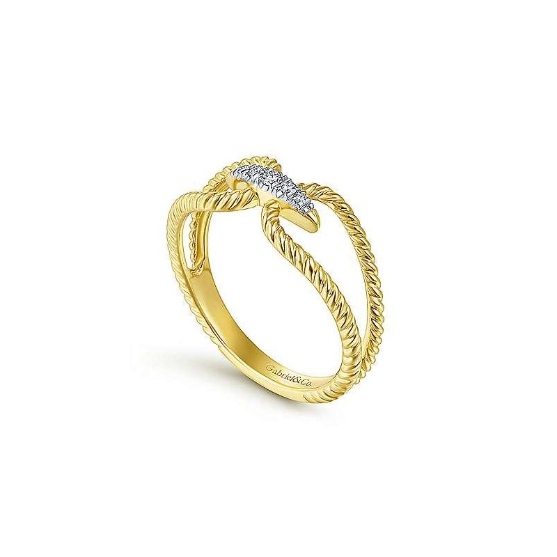 Gabriel & Co 14KY 0.05TDW PAVE TWISTED ROPE CONNECTOR RING