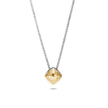 SS/18KY 16-18IN CC HAMMERED SUGARLOAF NECKLACE