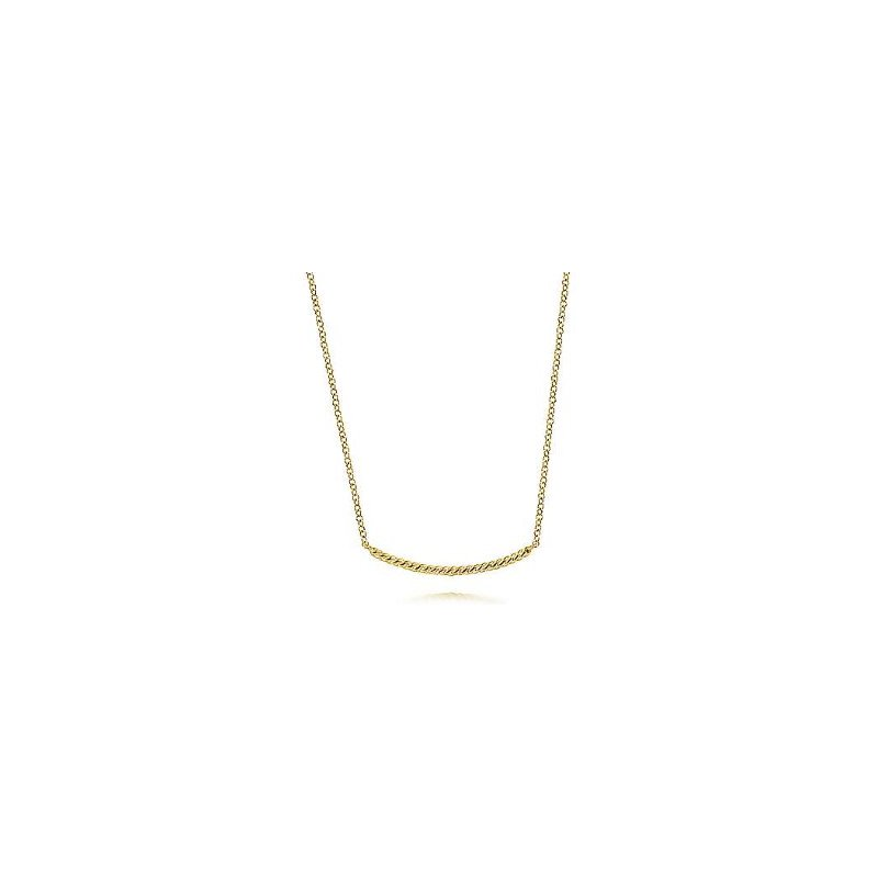 Gabriel & Co 14KY 17.5IN TWISTED ROPE CURVED BAR NECKLACE