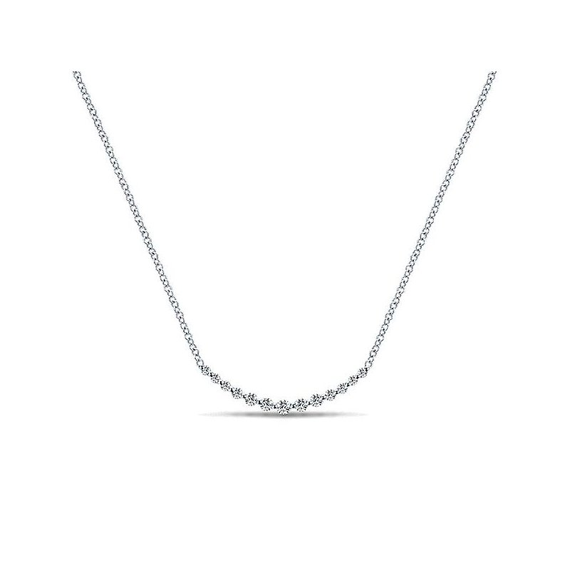 Gabriel & Co 14KW 17.5IN 0.25TDW CURVED BAR NECKLACE