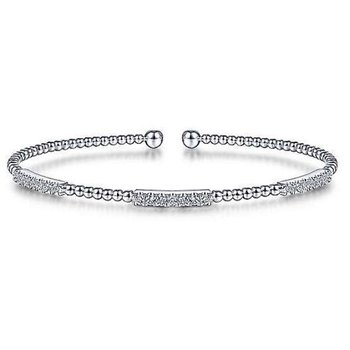14KW 6.5IN 0.44TDW PAVE STATIONS BEADED BUJUKAN CUFF BRACELET