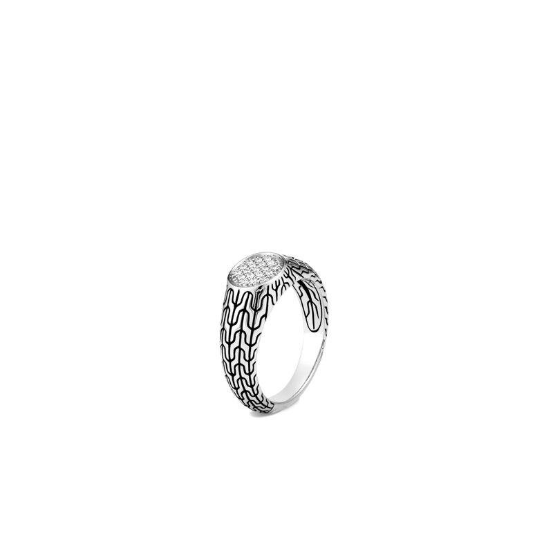 John Hardy Classic Chain Signet Ring with Diamonds