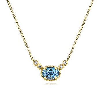 14KY 17.5IN 0.06TDW & 1.47CT OVAL SWISS BLUE TOPAZ PENDANT NECKLACE