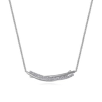 SS 17.5IN WHITE SAPPHIRE BAR PENDANT NECKLACE