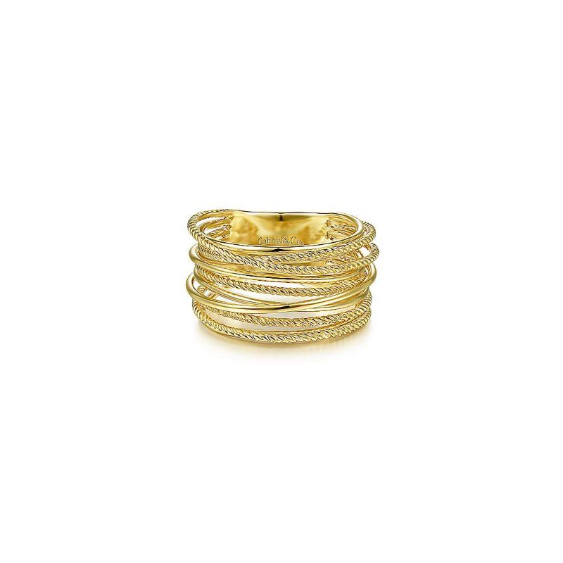 Gabriel & Co 14KY SZ 6.5 CRISS CROSSING TWISTED ROPE RING