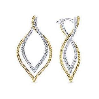 14KTT 0.67TDW 40MM INTRICATE LAYERED HOOP EARRINGS