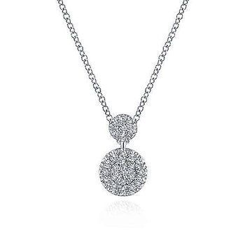 14KW 17.5IN 0.23TDW DOUBLE PAVE DISC NECKLACE