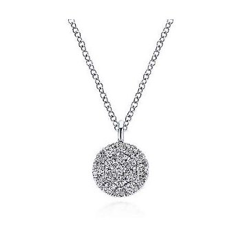 14KW 17.5IN 0.10TDW ROUND PAVE DISC PENDANT NECKLACE
