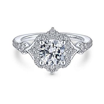 14KW 0.35TDW VINTAGE INSPIRED HALO SEMI-MOUNT ENGAGEMENT RING