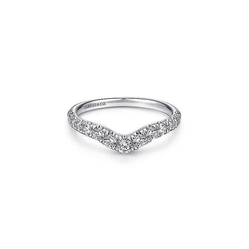 Gabriel & Co 14KW 0.50TDW FRENCH PAVE SET CURVED WEDDING BAND