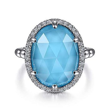 SS OVAL ROCK CRYSTAL & TURQUOISE & 0.26TW WHITE SAPPHIRE HALO RING