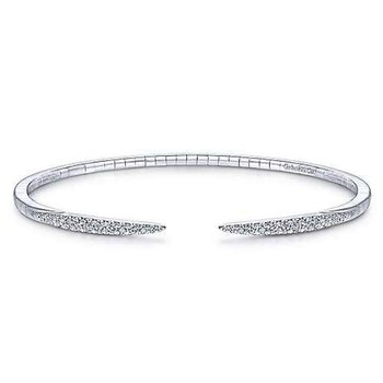 14K White Gold Split Diamond Spike Bangle