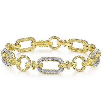 14KTT 7IN 0.48TDW CHAIN LINK FASHION BRACELET