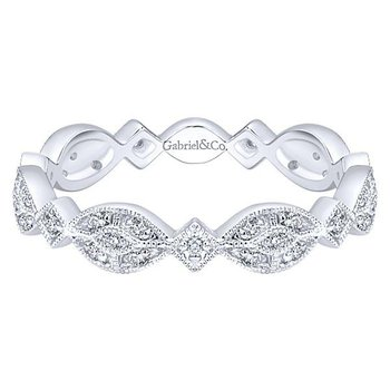 14KW SZ 6.5 0.15TDW MARQUISE STATION CLUSTER STACKABLE RING