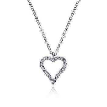 14KW 17.5IN 0.11TDW PAVE OPEN HEART NECKLACE