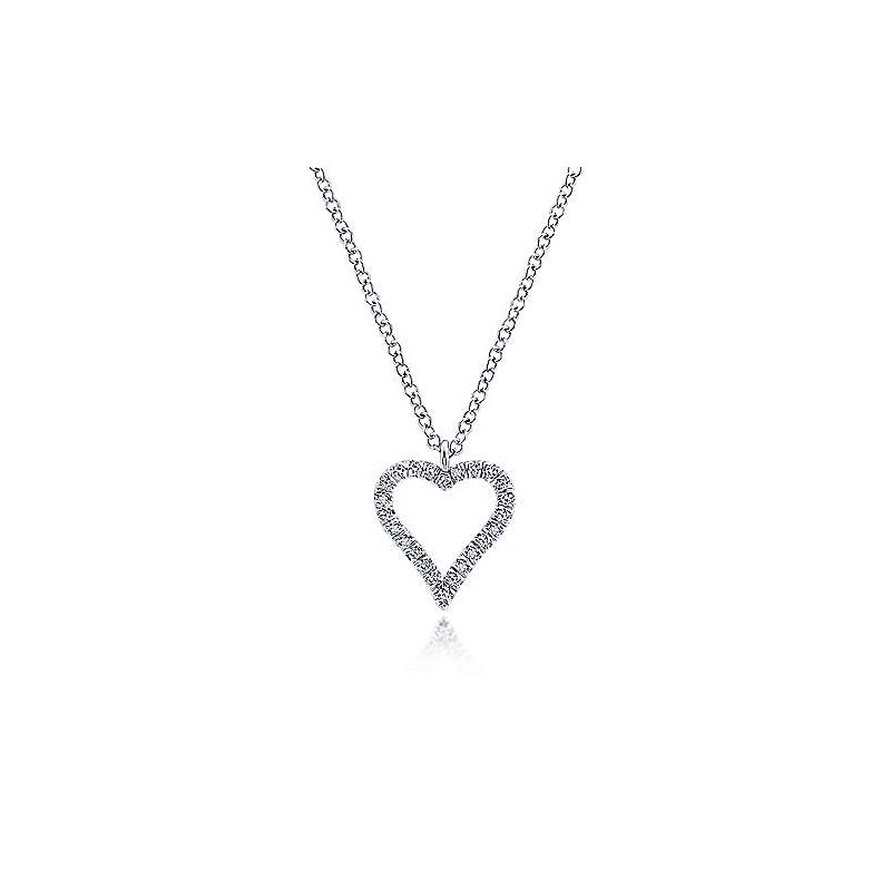 Gabriel & Co 14KW 17.5IN 0.11TDW PAVE OPEN HEART NECKLACE