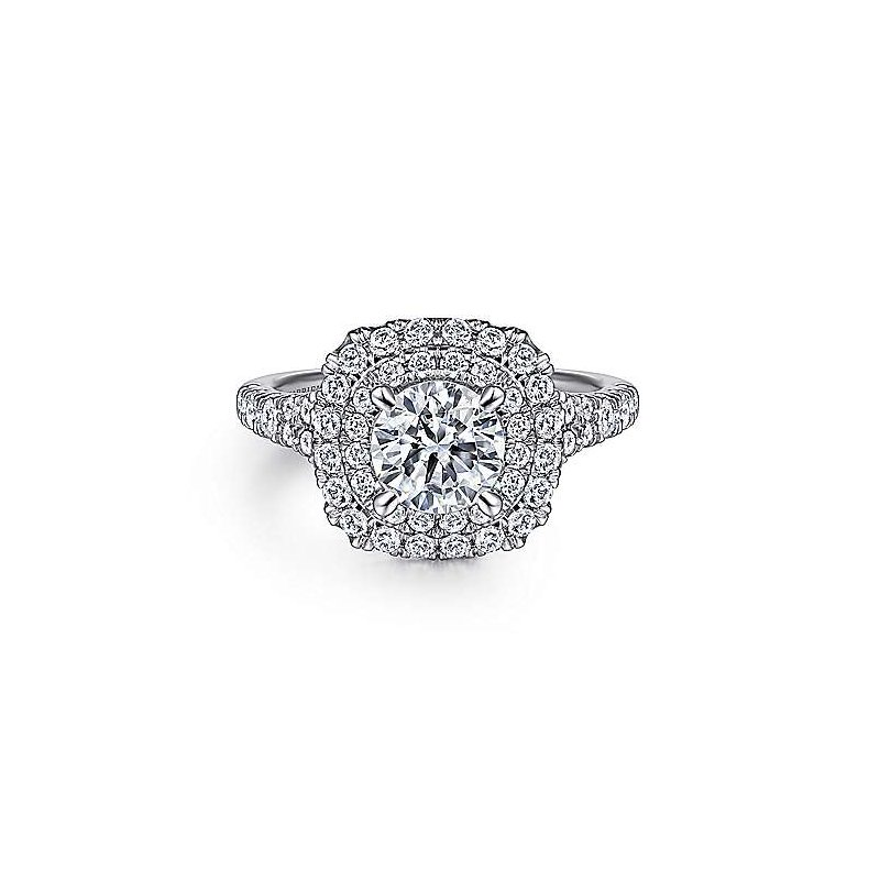 Gabriel & Co 14k White Gold Cushion Double Halo Round Diamond Engagement Ring