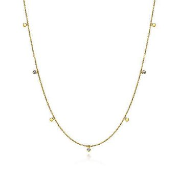 14KY 24IN 0.21TDW & DISC STATION NECKLACE