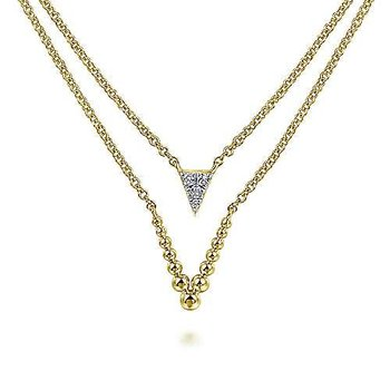 14KY 17.5IN 0.05TDW LAYERED TRIANGLE BUJUKAN BEADED V NECKLACE