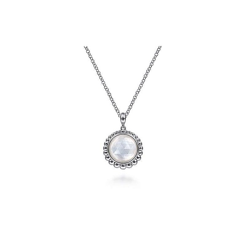 Gabriel & Co SS 17.5IN ROCK CRYSTAL & WHITE MOP PENDANT NECKLACE
