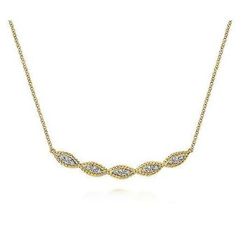 14KY 17.5IN 0.30TDW TWISTED ROPE CURVED BAR NECKLACE