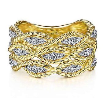 14K Yellow Gold Twisted Braided Diamond Wide Band Ring
