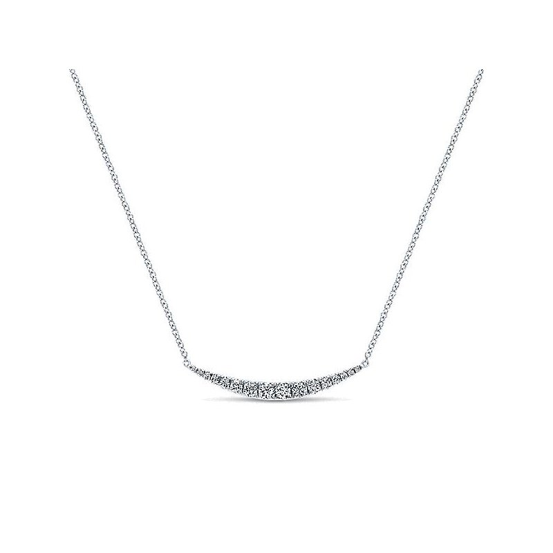 Gabriel & Co 14KW 17.5IN 0.51TDW CURVED BAR NECKLACE