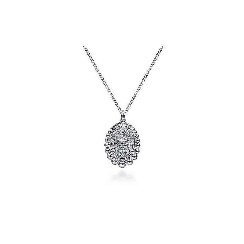 Gabriel & Co SS 17.5IN 0.50TW PAVE WHITE SAPPHIRE & BUJUKAN BEADED FRAME PENDANT NECKLACE