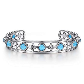 SS 6.5IN ROCK CRYSTAL & TURQUOISE STATION BANGLE
