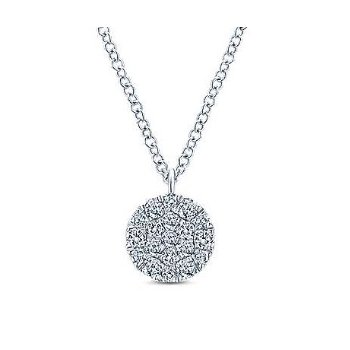 14KW 17.5IN 0.25TDW ROUND DISC PENDANT NECKLACE