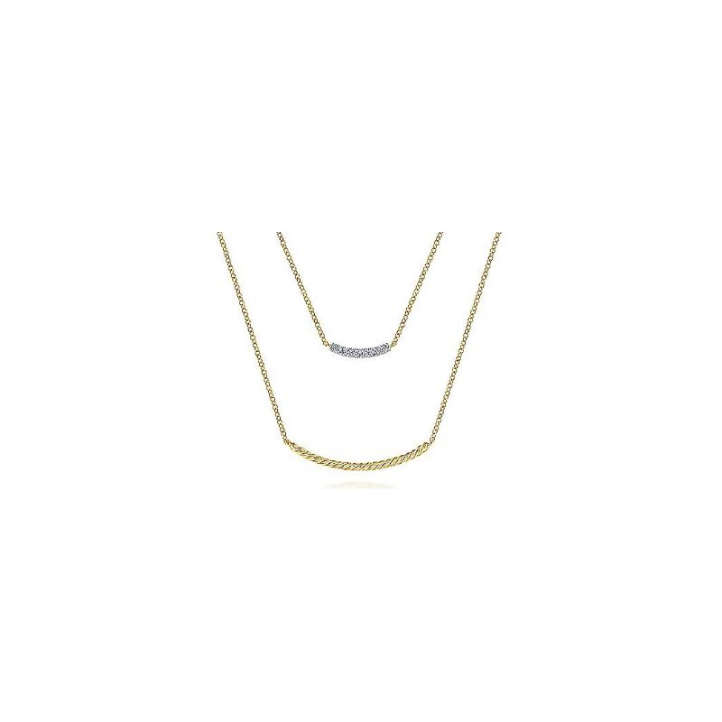 Gabriel & Co 14KY 17.5IN 0.07TDW TWO STRAND TWISTED BAR NECKLACE