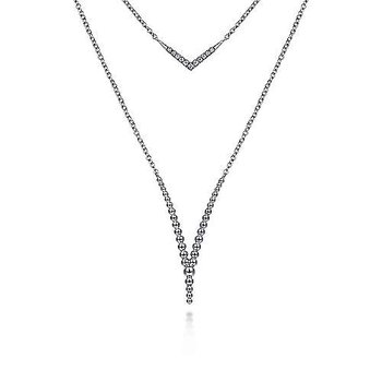 SS 20IN WHITE SAPPHIRE & BEADED CHEVRON NECKLACE