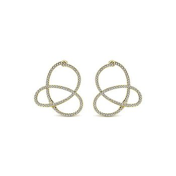14KY 0.76TDW IJ/SI2 TWISTED HOOP EARRINGS