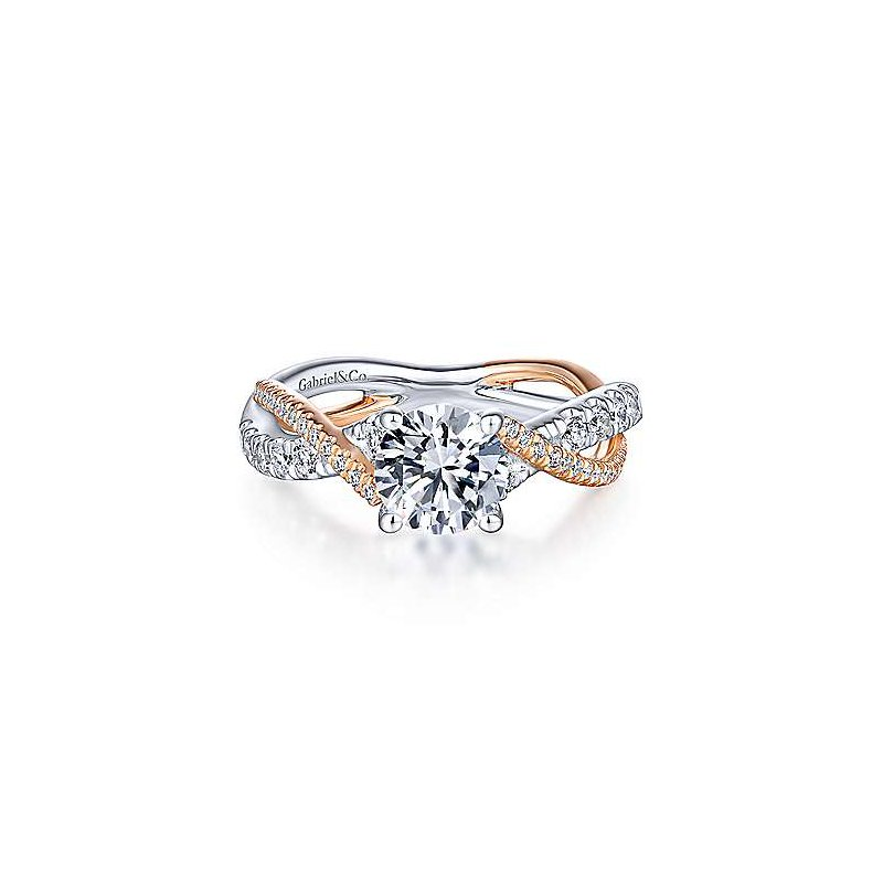 Gabriel & Co 14K White-Rose Gold Round Diamond Twisted Engagement Ring