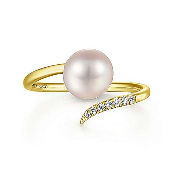 14KY 0.04TDW CULTURED PEARL OPEN WRAP RING
