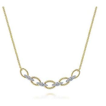 14KTT 17.5IN 0.24TDW TWISTED CHAIN LINK NECKLACE