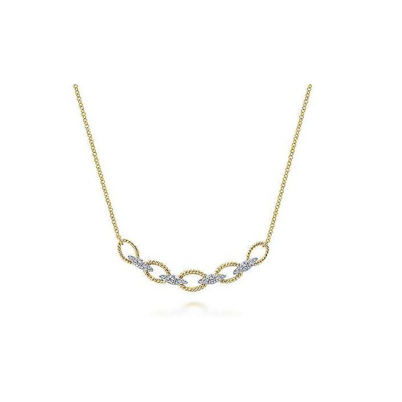 Gabriel & Co 14KTT 17.5IN 0.24TDW TWISTED CHAIN LINK NECKLACE