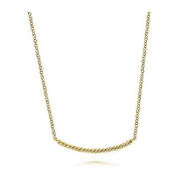 14KY 17.5IN TWISTED ROPE CURVED BAR NECKLACE