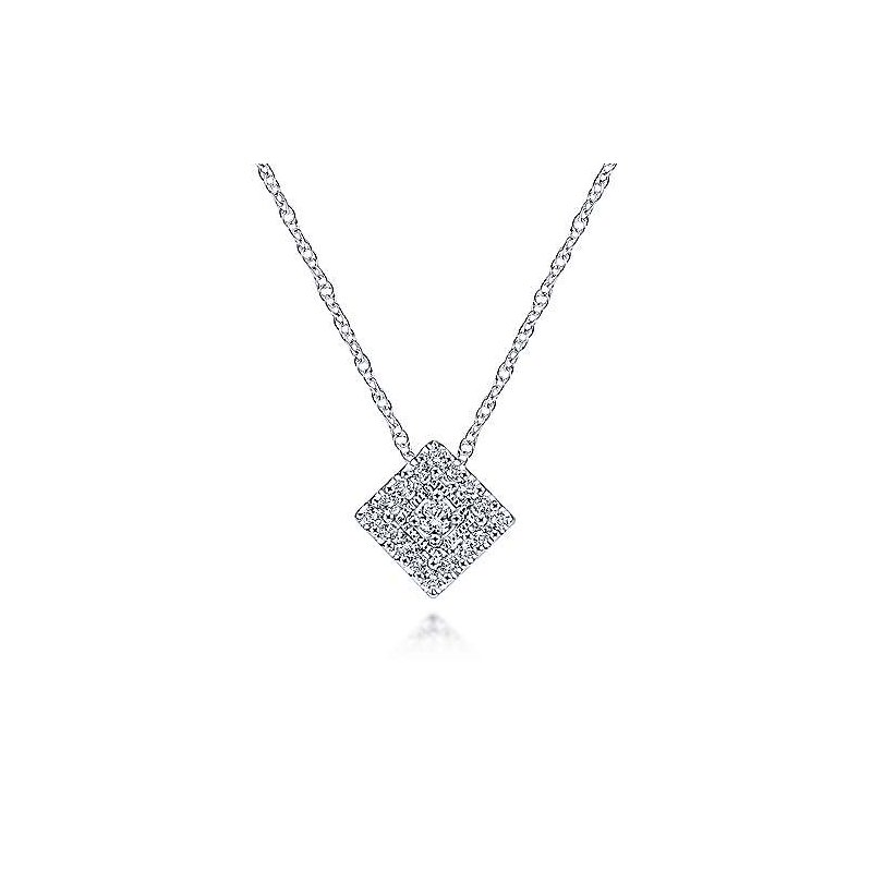Gabriel & Co 14KW 18IN 0.11TDW SQUARE PENDANT NECKLACE