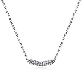 14KW 17.5IN 0.10TDW CURVED PAVE BAR NECKLACE